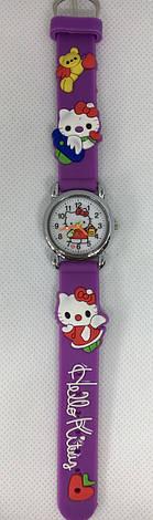 Детские наручные часы Hello Kitty на каучуковом ремешке (сиреневые), фото 2