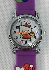 Детские наручные часы Hello Kitty на каучуковом ремешке (сиреневые), фото 3
