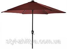 Садовий зонт SOLAR LED+USB з LED підсвідкою та USB зарядним пристроєм темно-червоний