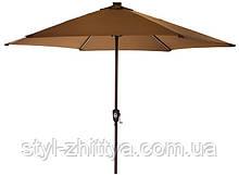 Садовий парасолька SOLAR LED+USB з LED підсвідкою та USB зарядним пристроєм кавовий