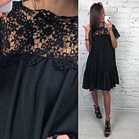 Платье шифоновое свободное с гипюровой вставкой и воланами Smld2366, фото 1