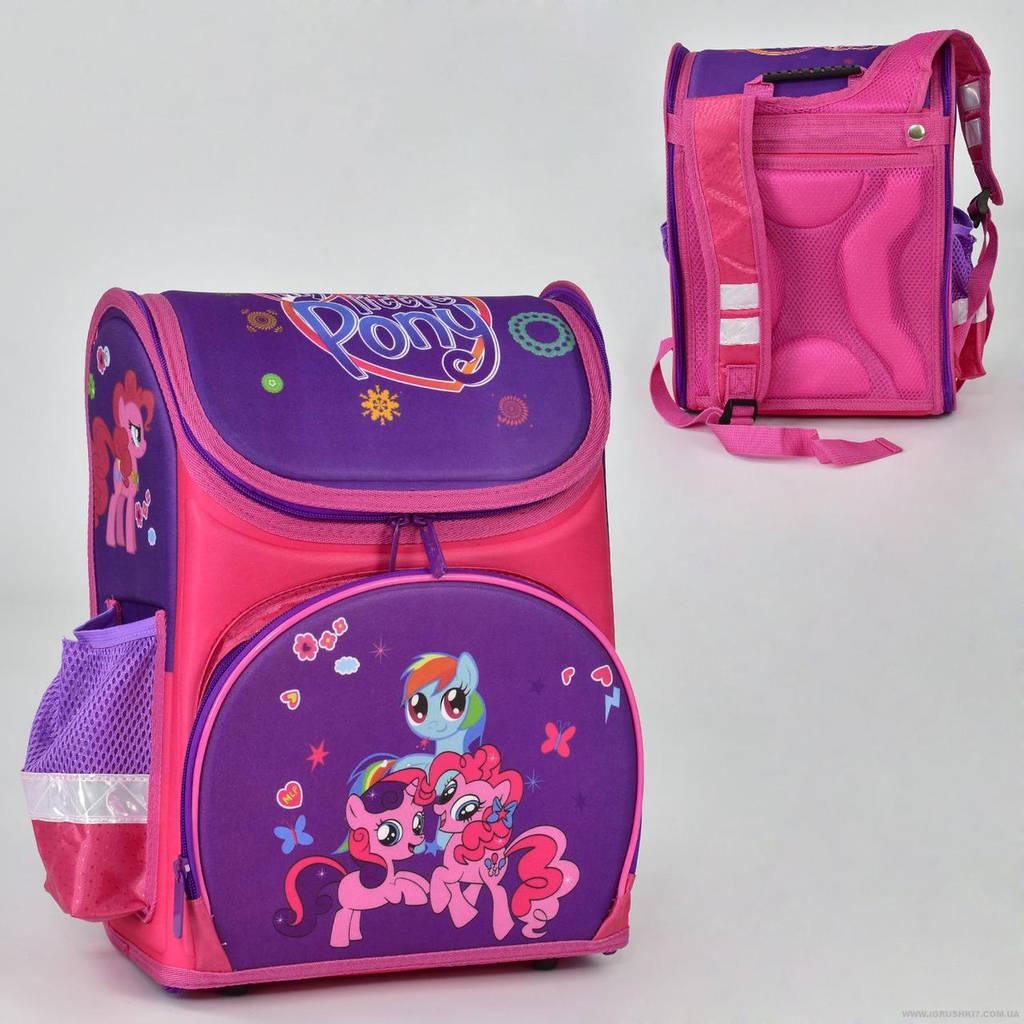 Рюкзак школьный два кармана, спинка ортопедическая, ножки пластиковые Пони N 00163