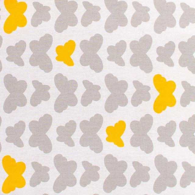 Простынь на резинке в кроватку BabySoon хлопок Серые бабочки 120х60 см