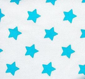 Простынь на резинке в детскую кроватку BabySoon хлопок Бирюзовые звезды 120х60 см