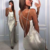 Платье модное в пол с открытой спиной и глубоким вырезом люрекс Smld2367, фото 1