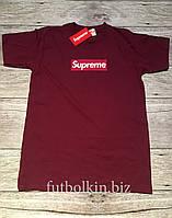 Футболка Supreme Box logo  Бирки  Бордовая