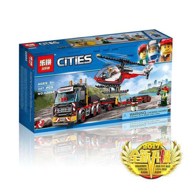 """Конструктор LEPIN 02094 """"Перевозчик Вертолета"""" 347 деталей (Аналог LEGO City 60183) Новое 2018 г"""