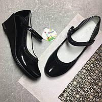 Черные лакированные туфли Леопард 32-34 размер