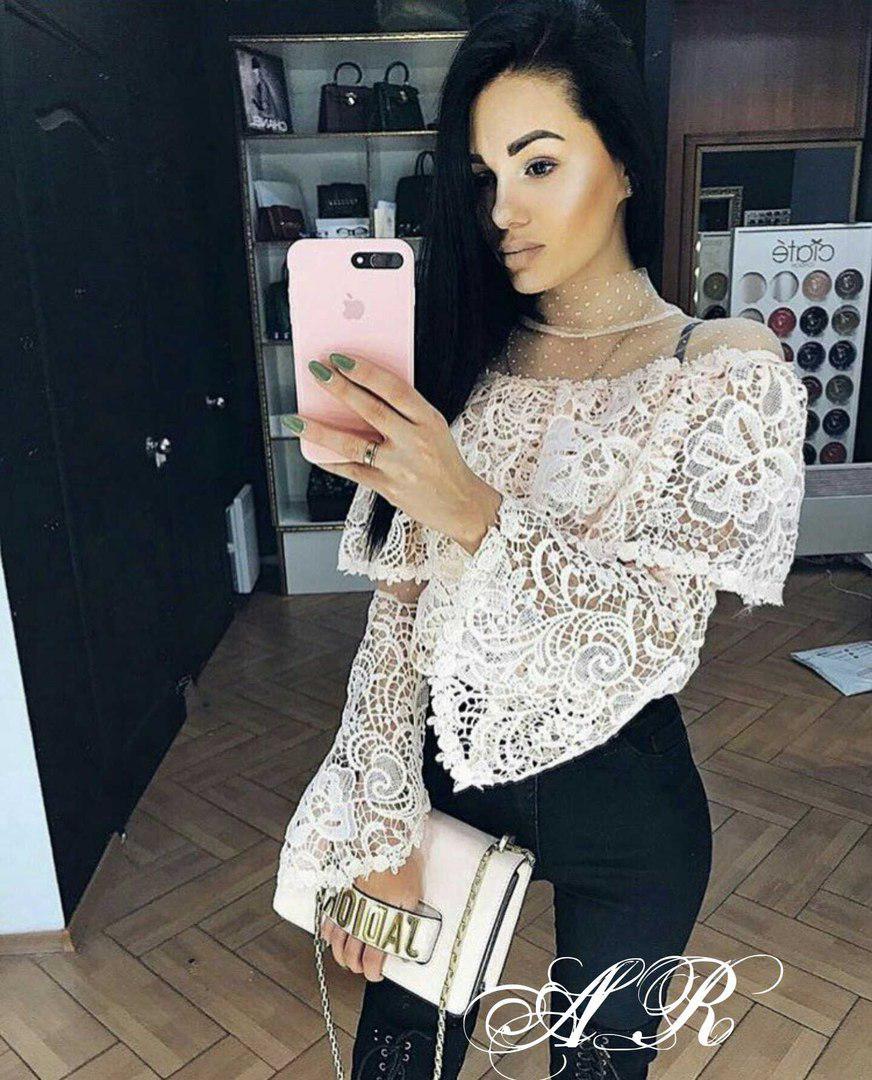 Очень нежная и красивая кружевная блуза, размеры 42-44