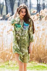 Шикарная женская летняя туника, пляжная, платье-туника Л,ХЛ,ХХЛ