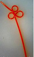Трубочка коктейльная без изгиба оранжевые круги L 250 мм (уп 10 шт)