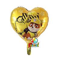 """Крепыш """" Щенячий патруль"""" фольгированный воздушный шар сердце 45 см"""