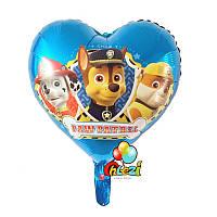 """"""" Щенячий патруль"""" фольгированный воздушный шар синее сердце 45 см"""