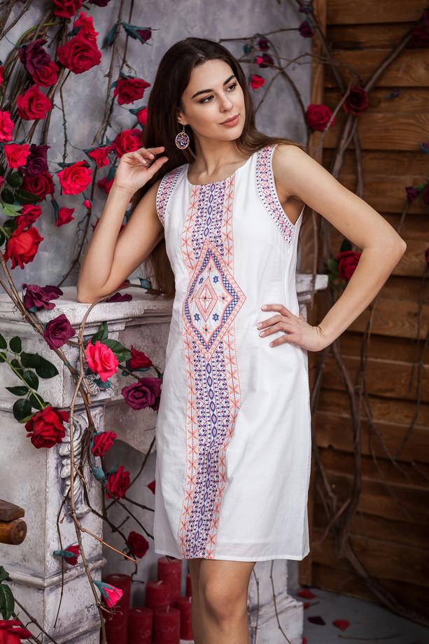 Легкое белое платье трапеция с орнаментом из натуральной ткани, М,Л,ХЛ,ХХЛ