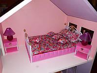 Детская мебель для кукол Gloria Глория 99001 Спальня Барби светящиеся лампы, тумбы, кровать
