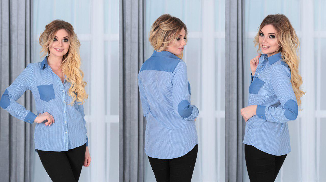 6939b913c17 Голубая женская рубашка в спортивном стиле с джинсовыми карманами и  заплатками на рукавах. Арт-4122 85