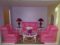 Мебель для кукол Gloria Глория 9704 Гостиная Барби диван, кресла, лампы, столик, цветы