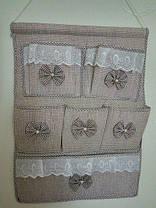 Подвесной органайзер с кармашками Бантики, персиковый, фото 2