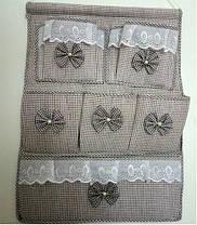 Подвесной органайзер с кармашками Бантики, оливковый, фото 3