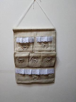 Подвесной органайзер с кармашками Бантики, оливковый, фото 2