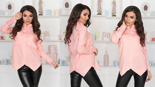 ed95b0d85eb Персиковая женская хлопковая рубашка с карманами и длинными рукавами. Арт-4128 85   продажа