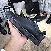 Женские кроссовки Adidas Stan Smith Black/Silver размер 36 Адидас Стэн Смит черные