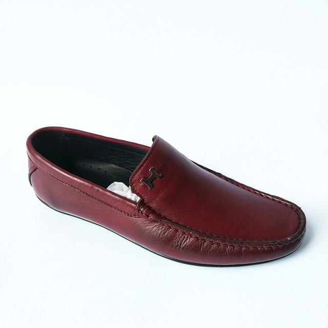 Практичная Rifelliniобувь Турция удобные мужские мокасины кожаные под ложку бордового цвета