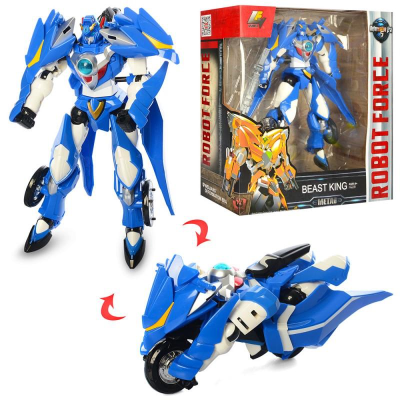 Трансформер мотоцикл 24 см Птица (синий) Праймбот, робот + мотоцикл, пластик-металл, Robot Force J8038B