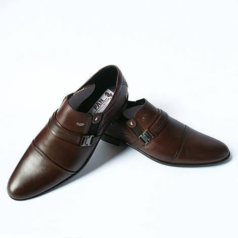 Мужская польская обувь Pan : кожаные туфли шоколадного цвета, классические
