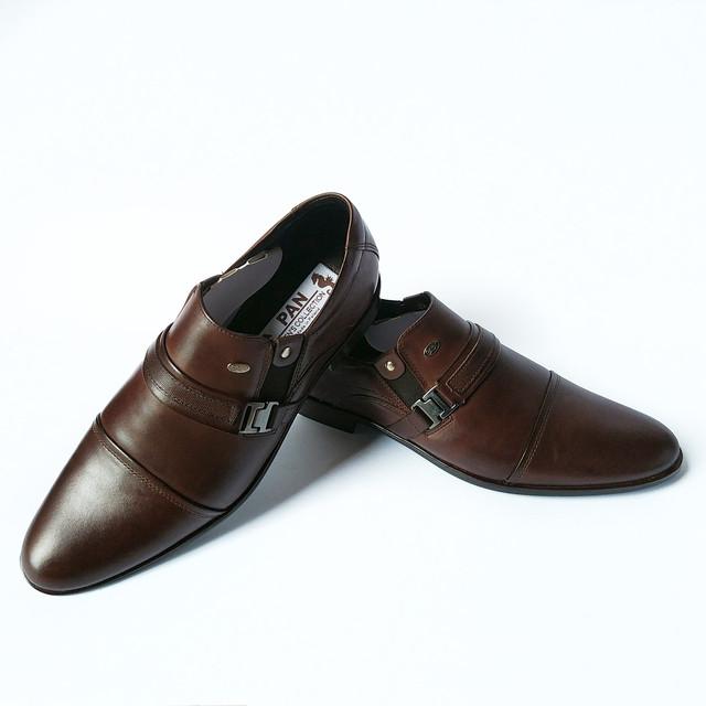 Мужская качественная польская обувь Pan кожаные туфли, шоколадного цвета, под ложку, классические,  под ложку с пряжкой