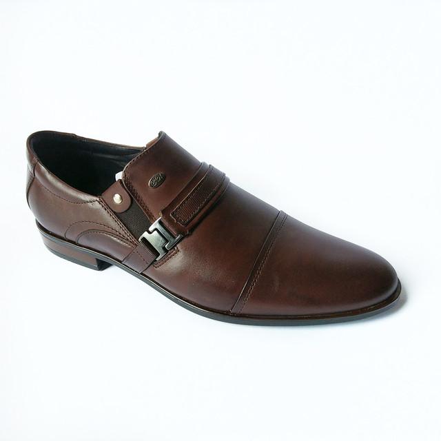 Мужская стильная польская обувь Pan кожаные туфли, шоколадного цвета, под ложку, под костюм
