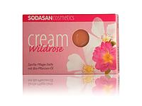 Органическое мыло-крем Wild roses для лица с маслами Ши и Диких роз SODASAN 100 г