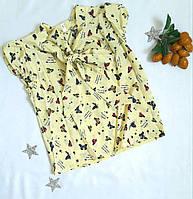 Детская блуза бант р. 122-146, принт бабочки, желтый