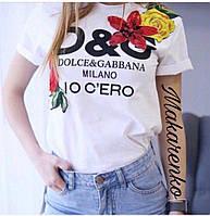 Женская летняя футболка D&G с цветочной аппликацией, фото 1