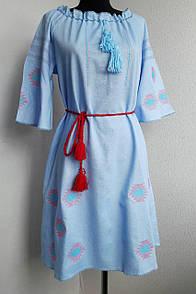 Платье вышиванка лен