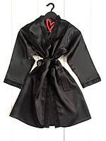 Черный атласный халат с кружевом