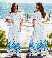 Летнее платье в пол женское с открытыми плечиками