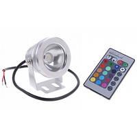 Мультицветной линзовый прожектор с блоком питания и пультом управления LED RGB IP67 10W 12V