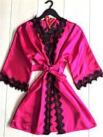 Малиновый яркий халат атласный женский с черным кружевом