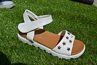Детские подростковые босоножки сандали белые со звездами 30 - 37