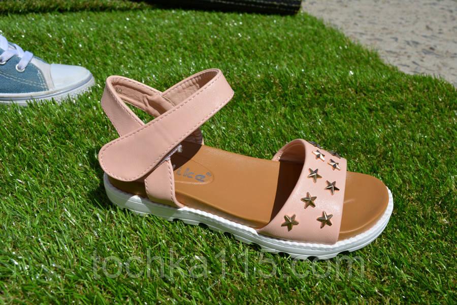 Детские подростковые босоножки сандали розовые со звездами 30 - 37