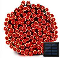 Светодиодная гирлянда на солнечной энергии 22м 200 LED красный