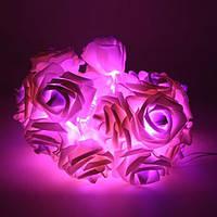Светодиодная гирлянда розовые Розы 2м 20LED