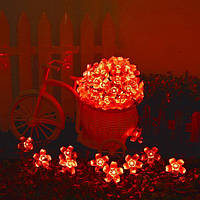 Светодиодная гирлянда на солнечной батарее Лютики красный
