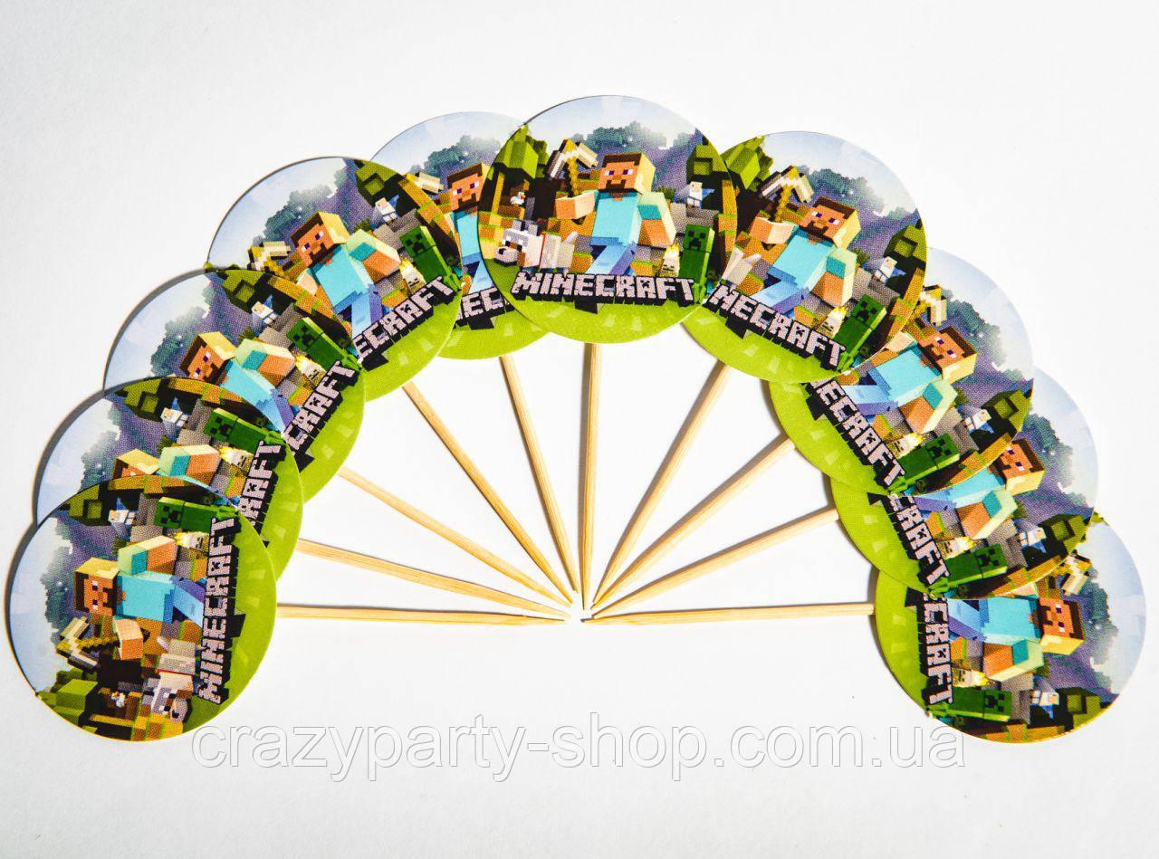 Топперы шпажки для украшения праздничного стола Майнкрафт 10 шт