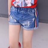 Шорты джинсовые полоса на девочку