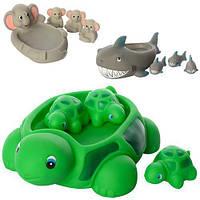 Животные OSB9904-06-11, для купания, пищал, 4 шт., 3в(слоник, черепаха, акула), в сетке, 20, 5-14, 5-7 см