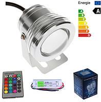 Мультицветной линзовый прожектор LED RGB IP67 10W 12V с пультом и БП