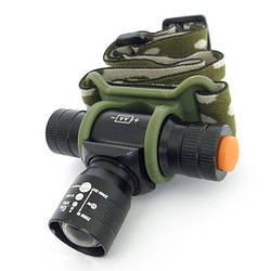 Налобный тактический фонарик Bailong Police BL-6660 + Камуфляжный чехол