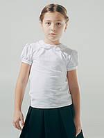 Блузка с вязаным воротником, короткий рукав. 152 см.